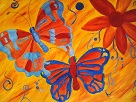 orange abstract butterfly and flowers digital art