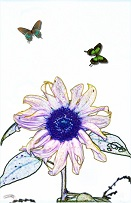 butterflies in love circling flower - sketch art painting