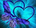 blue butterfly and twin love hearts digital art